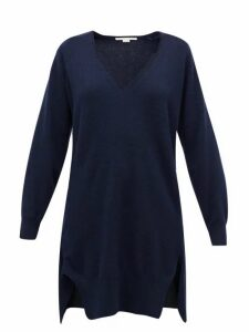 Stella Mccartney - V-neck Regenerated Cashmere-blend Tunic Sweater - Womens - Navy