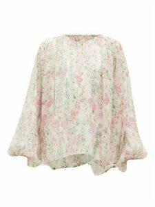Giambattista Valli - Gathered Floral-print Silk-chiffon Blouse - Womens - Ivory Multi
