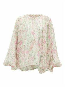 Giambattista Valli - Gathered Floral-print Silk-chiffon Blouse - Womens - Ivory Multi