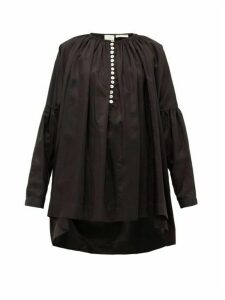 Zanini - Dropped-sleeve Satin Blouse - Womens - Black