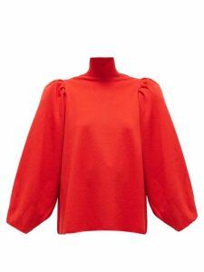 Balenciaga - Puffed-shoulder High-neck Wool-blend Sweater - Womens - Red