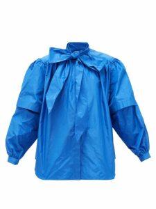 Balenciaga - Pussy-bow Puff-sleeved Silk-taffeta Blouse - Womens - Blue