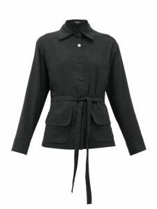 Ann Demeulemeester - Belted Cotton-muslin Blouse - Womens - Black