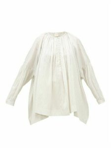 Zanini - Dropped-sleeve Striped-silk Blouse - Womens - White Stripe