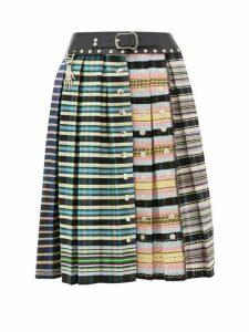 Chopova Lowena - Leather Waistband Pleated-wool Skirt - Womens - Multi