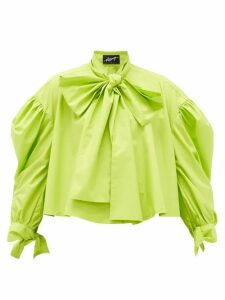 Elzinga - Tie-neck Poplin Blouse - Womens - Green