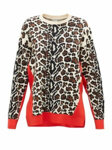 Stella Mccartney - Contrast-trim Leopard-jacquard Sweater - Womens - Red Multi