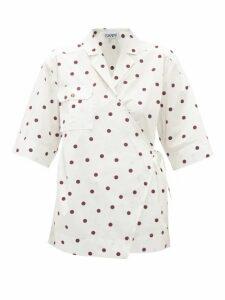 Ganni - Polka-dot Poplin Wrap Shirt - Womens - White Multi