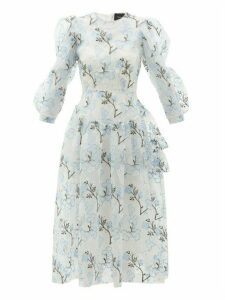 Simone Rocha - Floral-embroidered Tiered Organza Dress - Womens - Blue White
