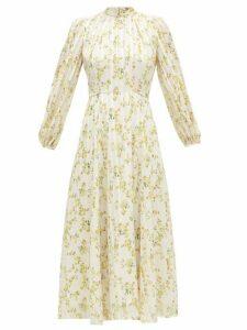 Beulah - Sonia Floral-print Satin-stripe Chiffon Dress - Womens - Yellow White