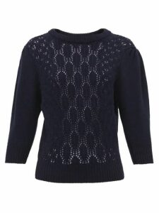 Symonds Pearmain - Pointelle-knit Wool Sweater - Womens - Navy