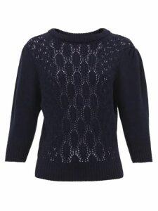 Symonds Pearmain - Pointelle-knit Wool Sweater - Womens - Navy