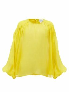 Giambattista Valli - Gathered Silk-chiffon Blouse - Womens - Yellow