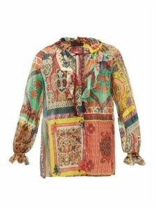 Etro - Paisley-print Cotton-blend Chiffon Blouse - Womens - Multi