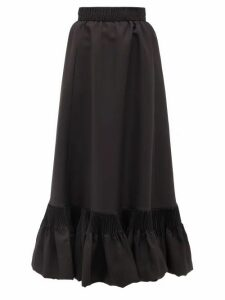 Valentino - Pleated-hem Silk-gazar Skirt - Womens - Black