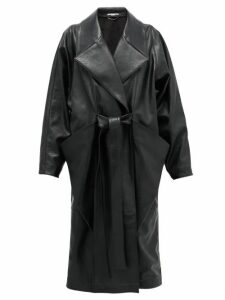 Stella Mccartney - Belted Double-breasted Faux-leather Coat - Womens - Black