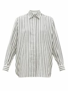 The Row - Big Sisea Striped Silk Shirt - Womens - White Black