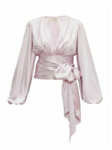 Alexandre Vauthier - V-neck Satin Wrap Blouse - Womens - Light Pink