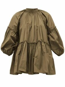 Biyan - Syasta Gathered Taffeta Blouse - Womens - Khaki