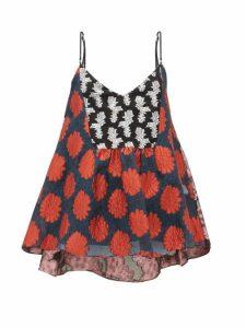Biyan - Serika Floral-brocade Flared Cami Top - Womens - Orange Multi