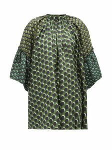 Biyan - Siroko Polka-dot Panelled Silk Blouse - Womens - Green Multi