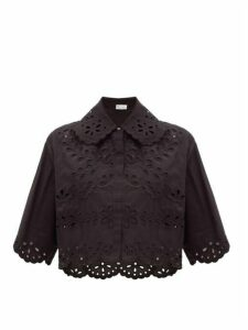 REDValentino - Broderie-anglaise Cotton Blouse - Womens - Black