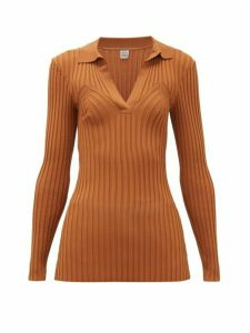 Totême - Arradon Ribbed-knit Rayon-blend Top - Womens - Brown