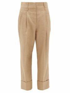 Brunello Cucinelli - Turn-up Cuff Technical-twill Trousers - Womens - Beige