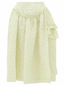 Simone Rocha - Ruffled Floral-cloqué Skirt - Womens - Light Green