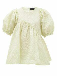 Simone Rocha - Puff-sleeve Floral-cloqué Top - Womens - Light Green