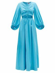 Staud - Vincent Cutout Ruched-front Cotton-blend Dress - Womens - Blue
