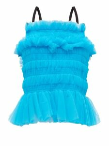 Molly Goddard - Betsy Shirred Tulle Top - Womens - Blue