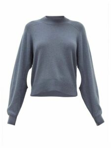 Tibi - Cutout-sleeve Cashmere Sweater - Womens - Dark Blue