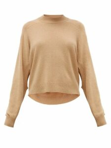 Tibi - Cutout-sleeve Cropped Cashmere Sweater - Womens - Camel
