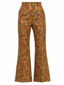 Gucci - Flared Floral Gg-jacquard Trousers - Womens - Beige
