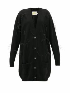 Marques'almeida - Oversized Feather-trimmed Wool Cardigan - Womens - Black