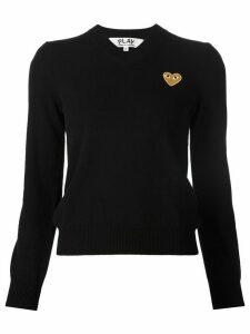 Comme Des Garçons Play embroidered heart v-neck jumper - Black