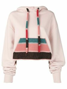 Alanui knitted pocket hoodie - PINK