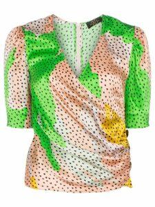 De La Vali Shanna dot-print silk wrap top - Green