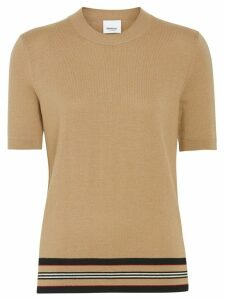 Burberry Short-sleeve Icon Stripe Detail Merino Wool Top - Brown