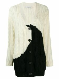 Valentino two-tone knitted cardigan - White