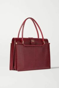 Dolce & Gabbana - Ingrid Lizard-effect Leather Tote - Burgundy