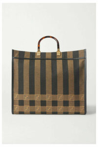 Fendi - Sunshine Shopper Leather-trimmed Canvas Tote - Brown