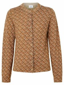 Burberry Monogram Print Merino Wool Cardigan - Brown