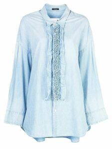 R13 frill detail oversized shirt - Blue