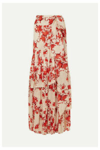 Johanna Ortiz - Tiered Floral-print Cotton-georgette Maxi Skirt - US8