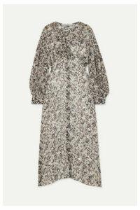 IRO - Elea Cutout Printed Crepe De Chine Midi Dress - Gray
