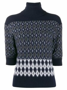 Chloé turtle neck rhombus pattern jumper - Blue