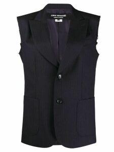 Junya Watanabe ripped-off sleeves striped jacket - Blue