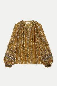 Ulla Johnson - Calista Printed Fil Coupé Silk And Lurex-blend Blouse - Mustard